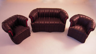 Bespaq Miniature Three Piece Black Silk Deco Sofa Set 1:12 scale