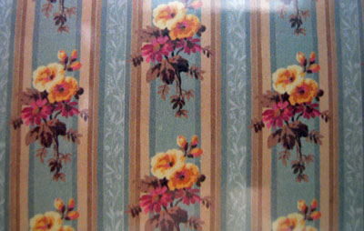 World Model Green and Yellow Floral Wallpaper 1:24 scale
