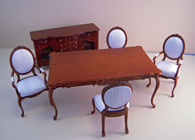 Bespaq Walnut Six Piece Petite Francoise Dining Set 1:12 scale