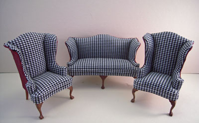 Bespaq Three Piece Elegant Hounds Tooth and Scarlet Sofa Set 1:12 scale