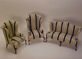 Bespaq Downtown Stripe Sofa Set 1:12 scale