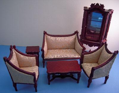 Bespaq Italia Elegant Mahogany Six Piece Living Room Set 1:12 scale