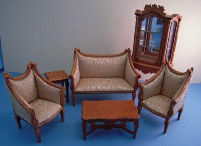 Bespaq Italia Elegant Walnut Six Piece Living Room Set 1:12 scale