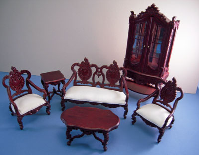 Bespaq Westmorland Elegant Mahogany Six Piece Living Room Set 1:12 scale