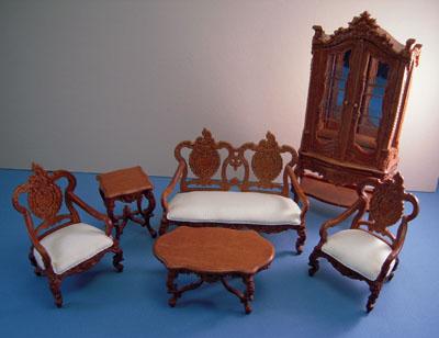 Bespaq Westmorland Elegant Walnut Six Piece Living Room Set 1:12 scale