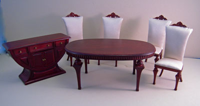 Bespaq Swanson Six Piece Mahogany Deco Dining Room Set 1:12 scale