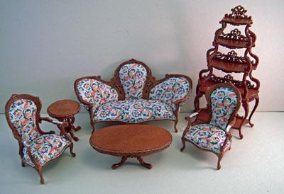 Miniature Bespaq Walnut Six Piece Sophia Parlor Set 1:12 scale