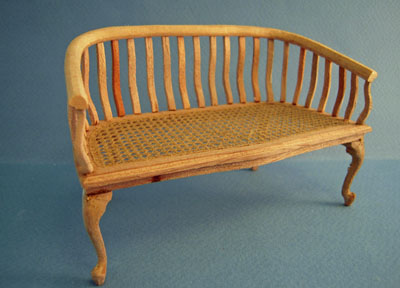 Bespaq Unfinished Caned Bench 1:12 scale