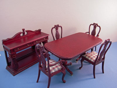Bespaq Six Piece Mahogany Martinique Pineapple Dining Room Set 1:12 scale