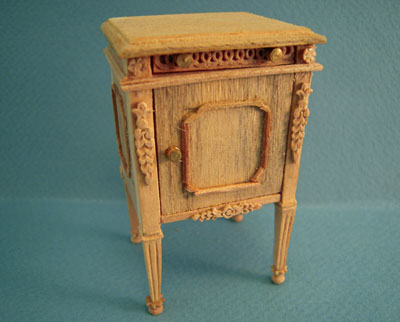 Bespaq Classique Unfinished Bedside Table 1:12 scale