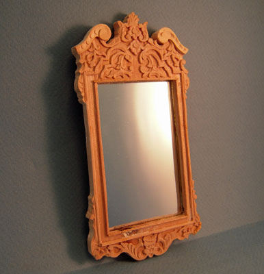 Bespaq Beautiful Unfinished Double Pedestal Buffet Wall Mirror 1:12 scale