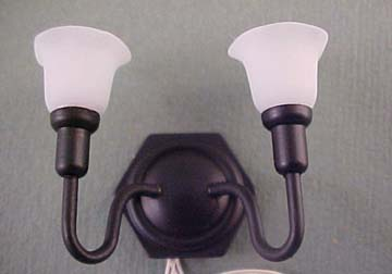 Antique Black Double Wall Sconce 1:12 scale