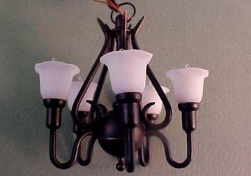 Black Upright Tulip Chandelier 1:12 scale