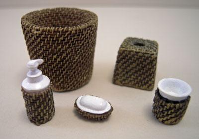 Miniature Wicker Five Piece Bathroom Accessory Set 1:12 scale