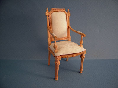 Bespaq Miniature Unfinished Petite Fluer Arm Chair 1:12 scale