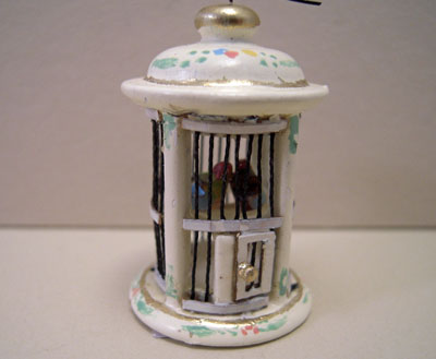 Bespaq Hand Painted Wildflower Round Bird Cage 1:12 scale
