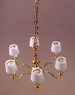 Clare-Bell Brass Six Arm Chandelier with White Shades 1:12 scale
