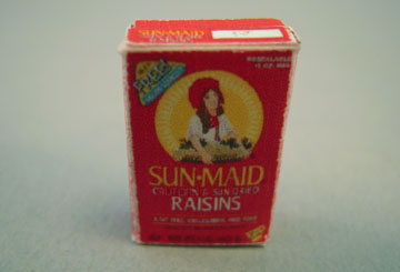 Miniature Box Of Raisins 1:12 scale