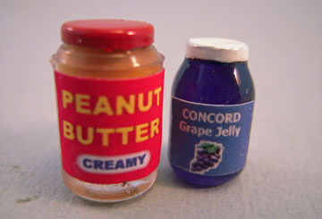 Miniature Jars Of Peanut Butter and Jelly 1:12 scale