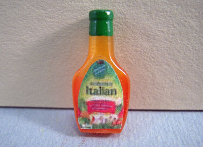 Miniature Handcrafted Bottle Of Salad Dressing 1:12 scale