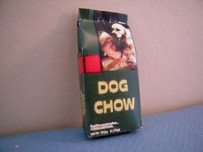 Miniature Bag Of Dog Chow 1:12 scale