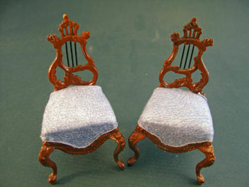 Bespaq Fantasy Lyre Walnut Chair Set 1:12 scale