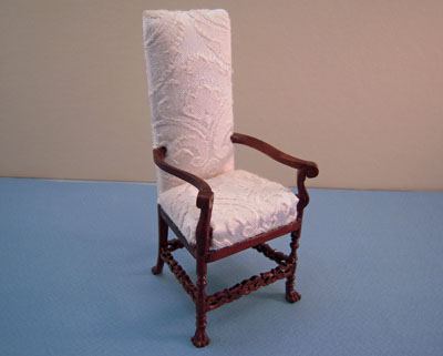 Bespaq Wexburgh Saxe White Brocade Arm Chair 1:12 scale