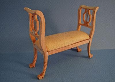 Bespaq Unfinished Elegant Lyre Bed Bench 1:12 scale
