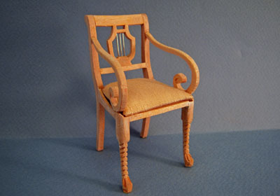Bespaq Unfinished Lyre Back Arm Chair 1:12 scale