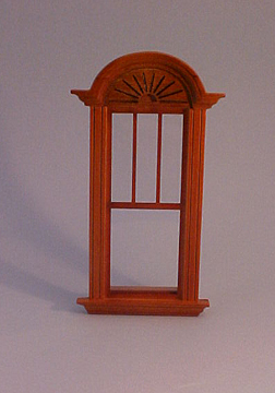 Majestic Mansions Miniature Walnut Newport Decorated Single Window 1:12 scale