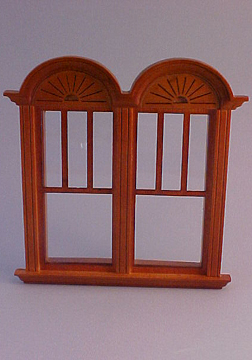 Majestic Mansions Miniature Walnut Newport Decorated Double Window 1:12 scale