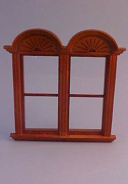 Majestic Mansions Walnut Newport Plain Double Window 1:24 scale