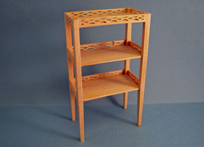Miniature Bespaq Unfinished Three Tiered Shelf 1:12 scale