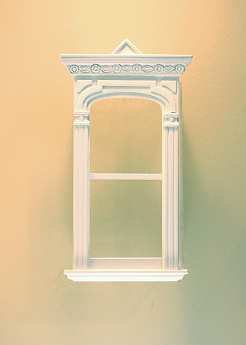 Majestic Mansions Miniature White Golden Gate Decorated Single Window 1:12 scale