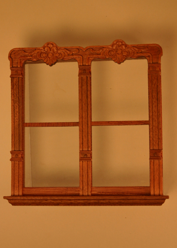 Majestic Mansions Miniature Mc Allister Walnut Carved Double Window 1:12 scale