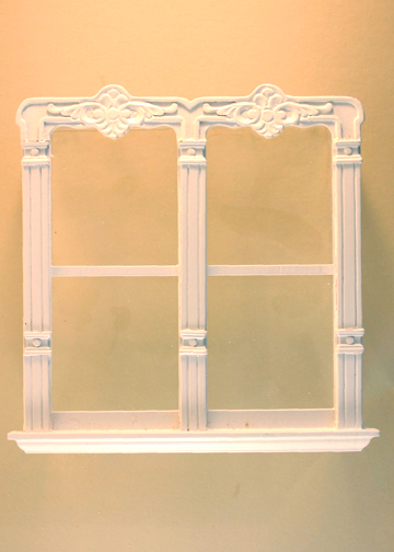 Majestic Mansions Miniature Mc Allister Carved Double Window 1:12 scale