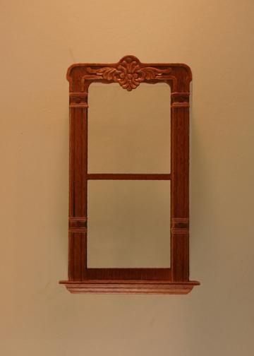 Majestic Mansions Miniature Walnut Mc Allister Carved Single Window 1:12 scale