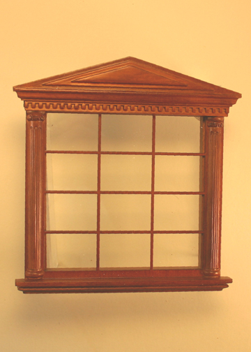 Majestic Mansions Miniature Walnut Spenser Carved Double Window 1:12 scale