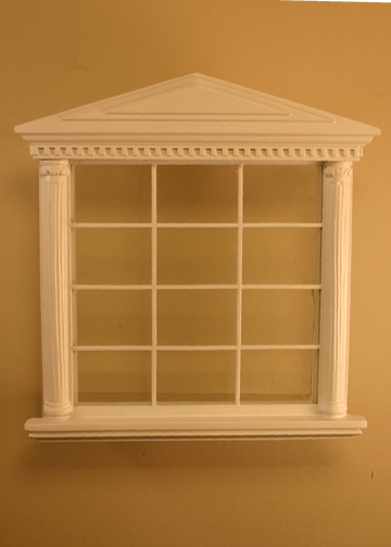 Majestic Mansions Miniature White Spenser Carved Double Window 1:12 scale