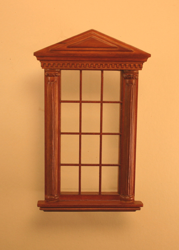 Majestic Mansions Miniature Walnut Spenser Carved Single Window 1:12 scale