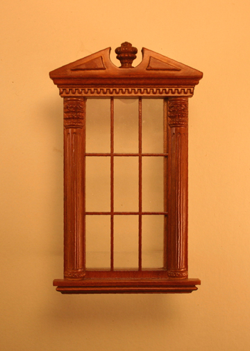 Majestic Mansions Miniature Walnut Corinthian Carved Single Window 1:12 scale