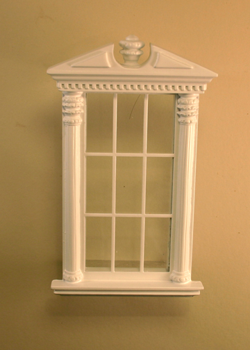 Majestic Mansions Miniature White Corinthian Carved Single Window 1:12 scale