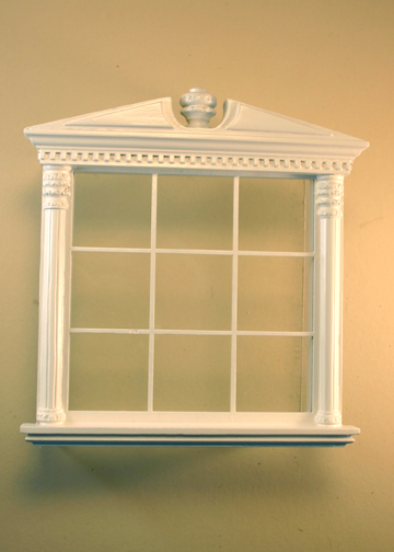 Majestic Mansions Miniature White Corinthian Carved Double Window 1:12 scale