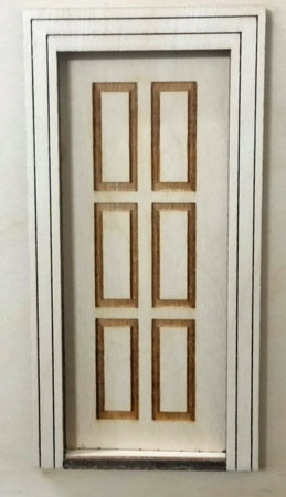 "Laser Dollhouse Designs 1/2"" Scale Miniature Traditional Raised Six Panel Door"