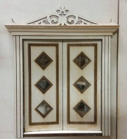 "Laser Dollhouse Designs 1/2"" Scale Miniature Three Diamond Custom Panel Double Door"