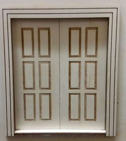 "Laser Dollhouse Designs 1/2"" Scale Miniature Traditional Raised Six Panel Double Door"