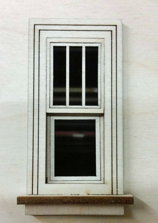 "Laser Dollhouse Designs 1/2"" Scale Miniature Working Traditional Single Window With Three Panes"