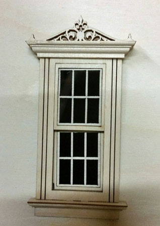 "Laser Dollhouse Designs 1/2"" Scale Miniature Working Classic Window with Colonial Pane"