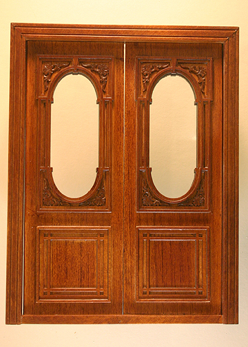 "Majestic Mansions 1"" Scale Miniature Walnut Penniman Carved Double Door"