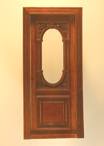 Majestic Mansions Miniature Walnut Penniman Carved Single Door 1:12 scale